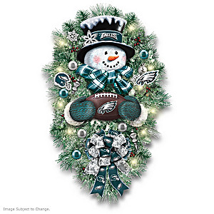 Philadelphia Eagles Illuminated Snowman Wreath