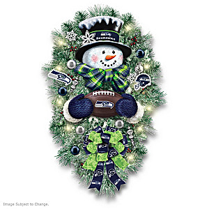 Seattle Seahawks Illuminated Snowman Wreath