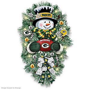 Green Bay Packers Illuminated Snowman Wreath