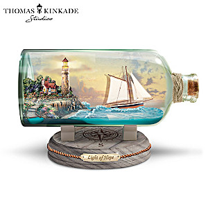 """Light Of Hope"" Illuminating Ship-In-A-Bottle Sculpture"
