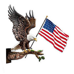 """""""American Spirit"""" Outdoor Eagle Sculpture And Flag"""