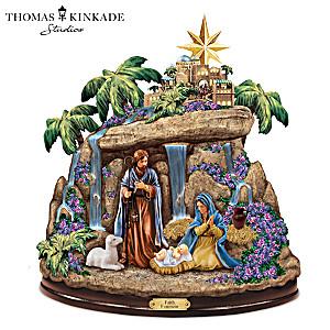 Thomas Kinkade Faith Fountain Illuminating Nativity Fountain