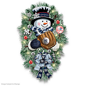 New York Yankees Illuminated Snowman Wreath