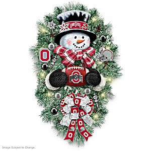 Ohio State Buckeyes Illuminated Snowman Wreath