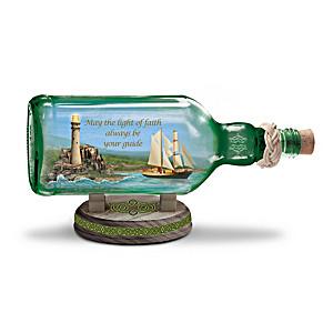 """""""Light Of Ireland"""" Illuminated Ship-In-A-Bottle"""