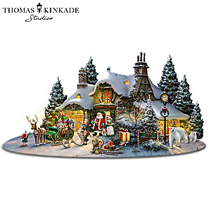 Thomas Kinkade North Pole Village Sculpture With Lights