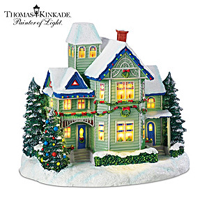 "Thomas Kinkade Village Christmas ""Candle Glow House"""