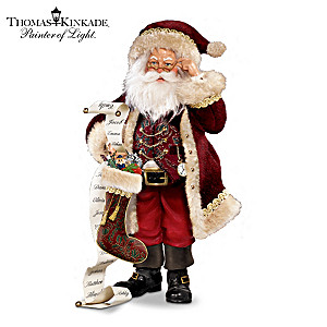 "Thomas Kinkade ""Naughty Or Nice"" Santa Figurine"
