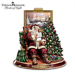 Thomas Kinkade Illuminated Animated Musical Santa Figurine