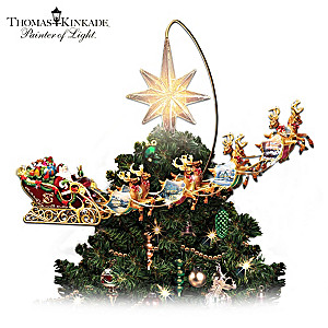 thomas kinkade illuminated animated santa claus tree topper - Motorized Christmas Decorations