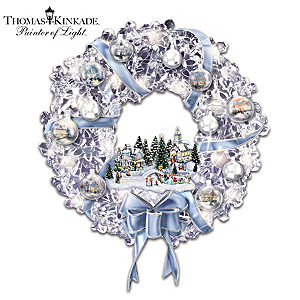 Thomas Kinkade Lighted Wreath With Ornaments, Village