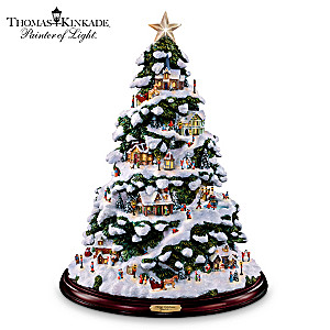 thomas kinkade village christmas illuminated tabletop tree