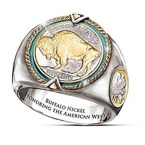 Engraved Genuine Buffalo Nickel Ring