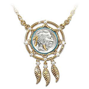 Noble spirit buffalo nickel dreamcatcher necklace buffalo nickel dreamcatcher necklace with 24k gold plating aloadofball Choice Image
