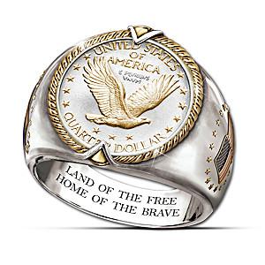 Genuine 90% Silver Quarter Engraved Men's Ring