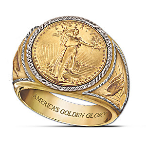 Saint-Gaudens Golden Proof Engraved Men's Ring