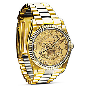 The 1849 $20 Eagle Proof Watch Plated In 24K Gold