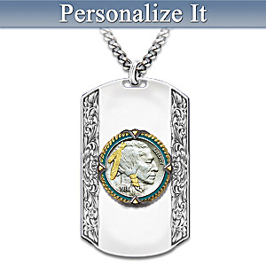 """Spirit Of The West"" Personalized Dog Tag Pendant Necklace"