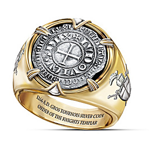 "The Crusader ""Ring Of Valor"" 24K Gold-Plated Coin Ring"