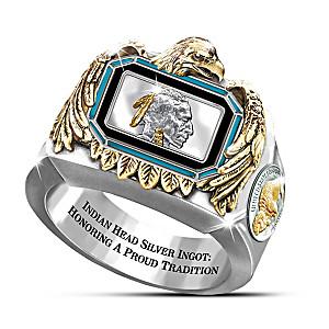 Silver Indian Head Ingot Engraved Men's Ring