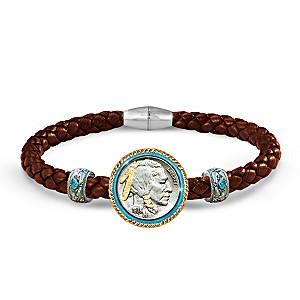 Genuine U.S. Indian Head Nickel Men's Leather Bracelet