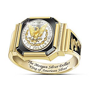 1878 Morgan Silver Dollar-Inspired Men's Ring