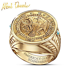 Durante Brasher Doubloon Coin Ring With 24K-Gold Plating