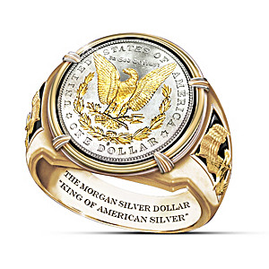 1878 Morgan Silver Dollar-Inspired 24K Gold-Plated Ring