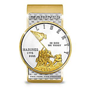 USMC Silver Dollar Tribute Money Clip