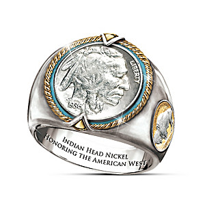 Indian Head Nickel Silver-Plated Engraved Men's Ring
