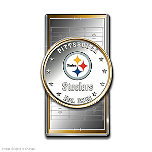 Steelers Money Clip With Team Logo Silver Dollar