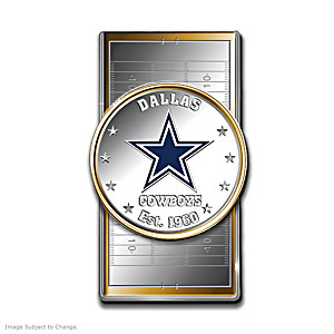 Cowboys Money Clip With Team Logo Silver Dollar