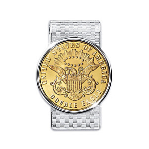 24K Gold-Plated 1849 Double Eagle Coin Tribute Money Clip