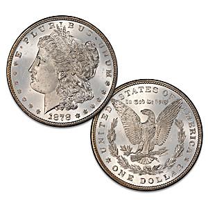 Rare 1878 Variety Morgan Silver Dollar Coin With Magnifier