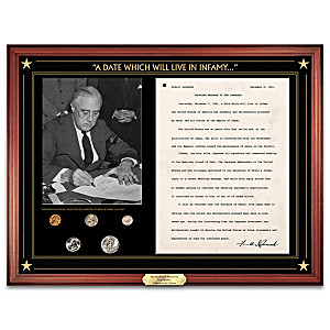 FDR Pearl Harbor Address And U.S. Mint Coin Set Wall Decor