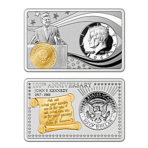 """JFK 100th Anniversary"" Silver Bar And Half-Dollar Coin Set"