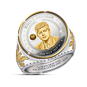 JFK 100th Anniversary Legacy Silver Coin Ring With 24K Gold
