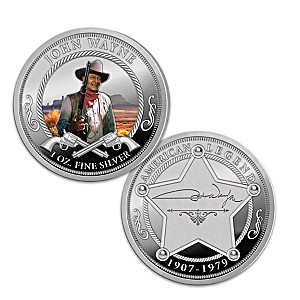 John Wayne 1 Oz. Silver Proof Coin With Deluxe Display Box