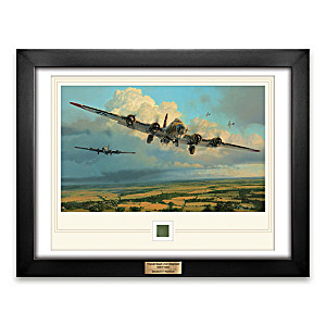 Robert Taylor Framed Artwork With Genuine WWII B-17 Artifact