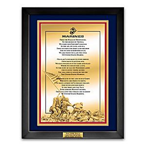 24K Gold Marines' Hymn Framed Wall Plaque