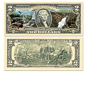 Genuine U.S. $2 Bills Honoring America's National Parks