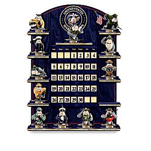 USMC Perpetual Calendar With Devil Dog Figurines