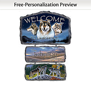 Personalized Al Agnew Seasonal Wolf Art Welcome Sign