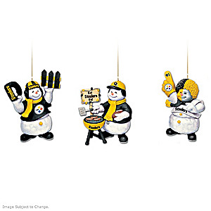 Officially Licensed Pittsburgh Steelers Snowmen Ornaments