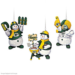 Officially Licensed Green Bay Packers Snowmen Ornaments