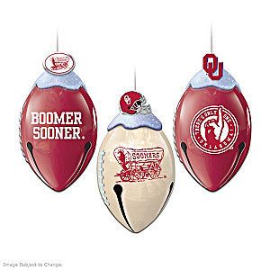 Football-Shaped Oklahoma Sooners Jingle Bell Ornaments