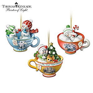 Christmas Baby Teacup Snowmen With Thomas Kinkade Artwork
