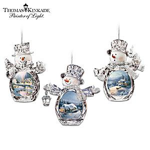 Thomas Kinkade Holiday Art Crystalline Snowman Ornaments