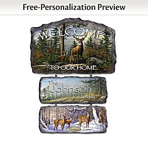 Personalized Hautman Brothers Deer Art Welcome Sign