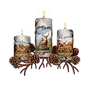 Joseph Hautman Deer Art Candleholders With FREE Tealights